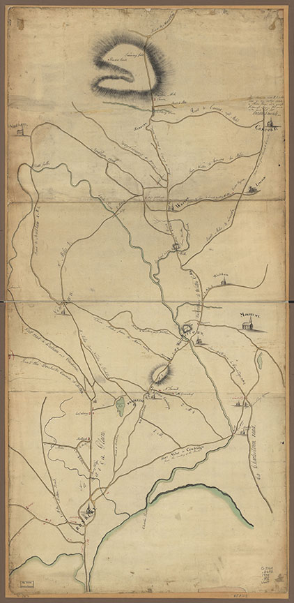 """Roxbury to Concord. Roads & distances, &c."" 1775. Library of Congress, Geography & Map Division."