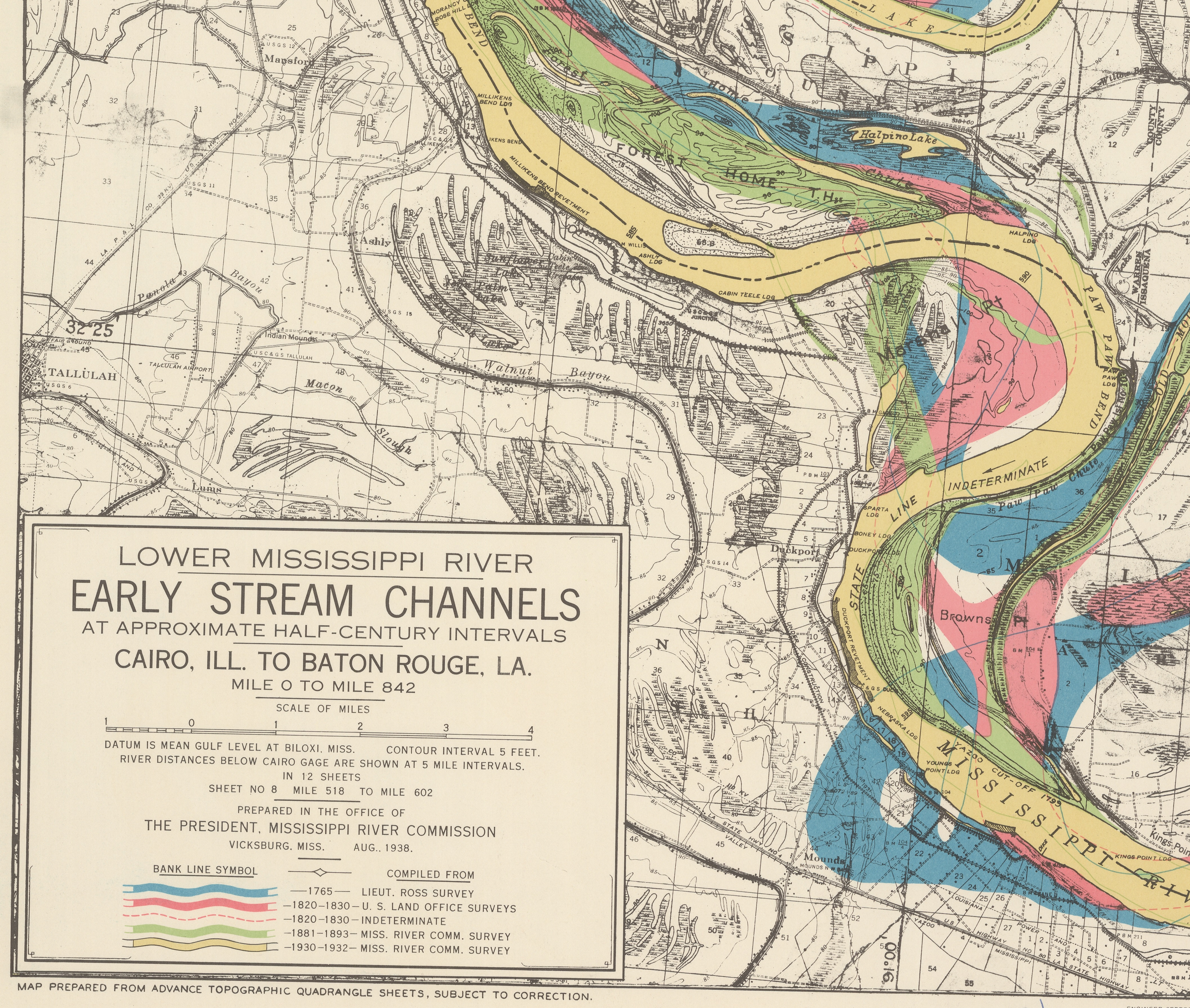 "Legend and detail of Sheet 8 of ""Lower Mississippi River Early Stream Channels"" map series."