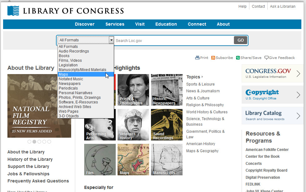 Library of Congress Website Maps