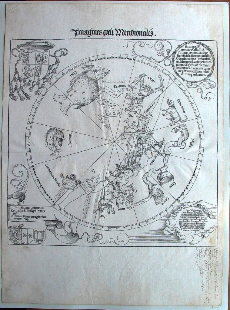 star-chart of the Southern Hemisphere by Albrect Durer. Geography and Map Division, Library of Congress.