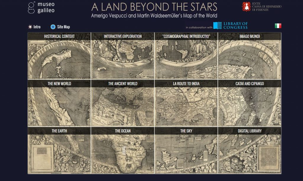 "Entry Page of ""A Land Beyond the Stars"", a website dedicated to the Live and work of Martin Waldseemuller. Geography and Map Division, Library of Congress."