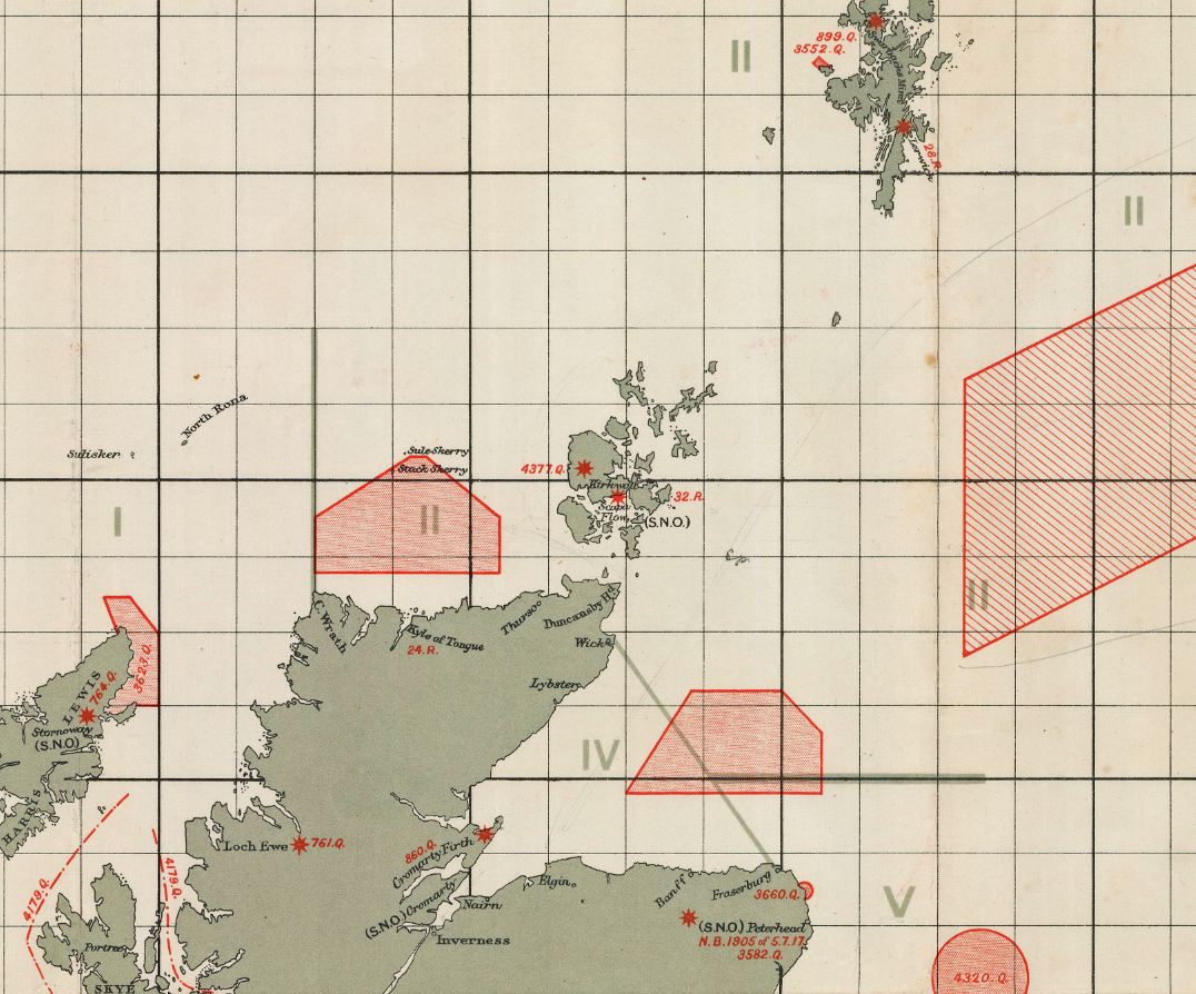 "Detail of north coast of Scotland from ""British Islands: Approximate Positions of Minefields. 19th August 1918."" Hydrographic Department of the Admiralty, under superintendence of Rear-Admiral J.F. Parry, C.B. Hydrographer, August 6th, 1917. William Rea Furlong map collection, Geography and Map Division, Library of Congress."