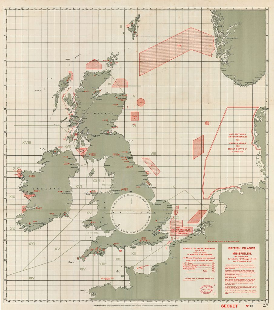"""British Islands: Approximate Positions of Minefields. 19th August 1918."" Hydrographic Department of the Admiralty, under superintendence of Rear-Admiral J.F. Parry, C.B. Hydrographer, August 6th, 1917. William Rea Furlong map collection, Geography and Map Division, Library of Congress."