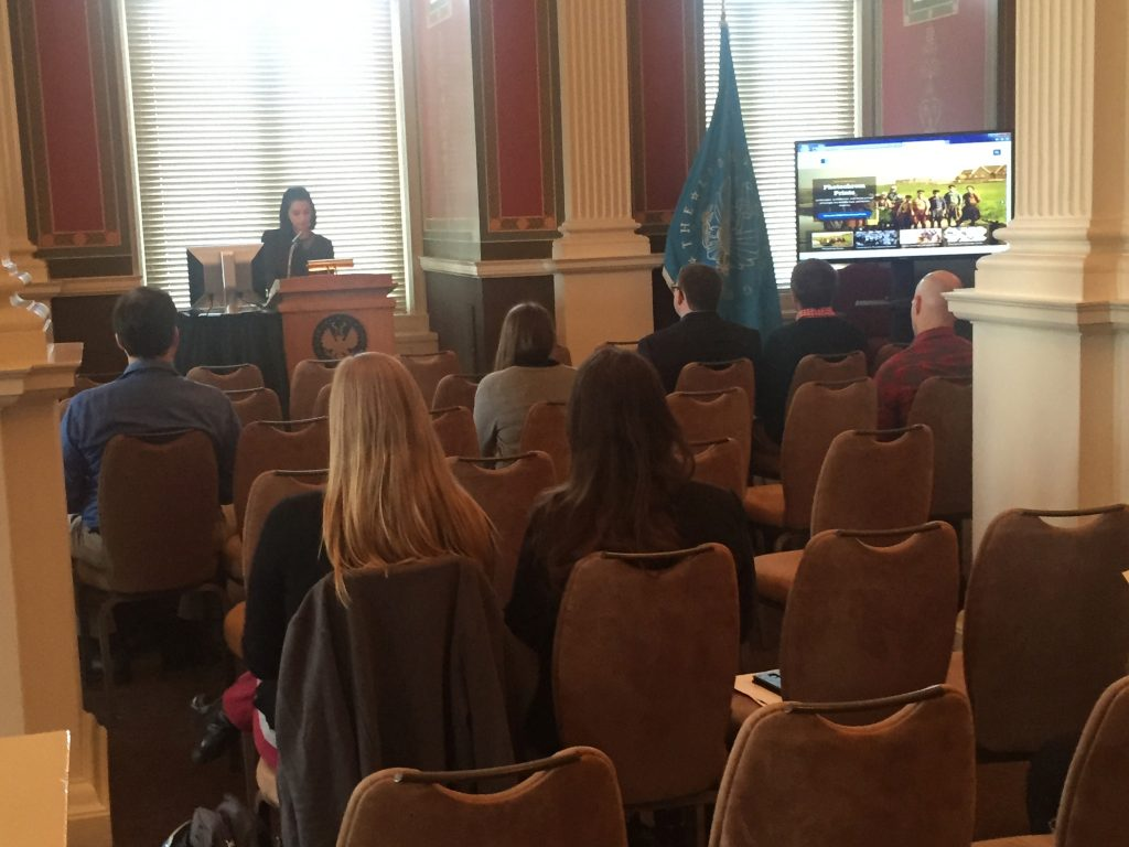 Geography and Map Division Intern Nina Feldman speaking at the 1016cGIS day at the Library of Congress.