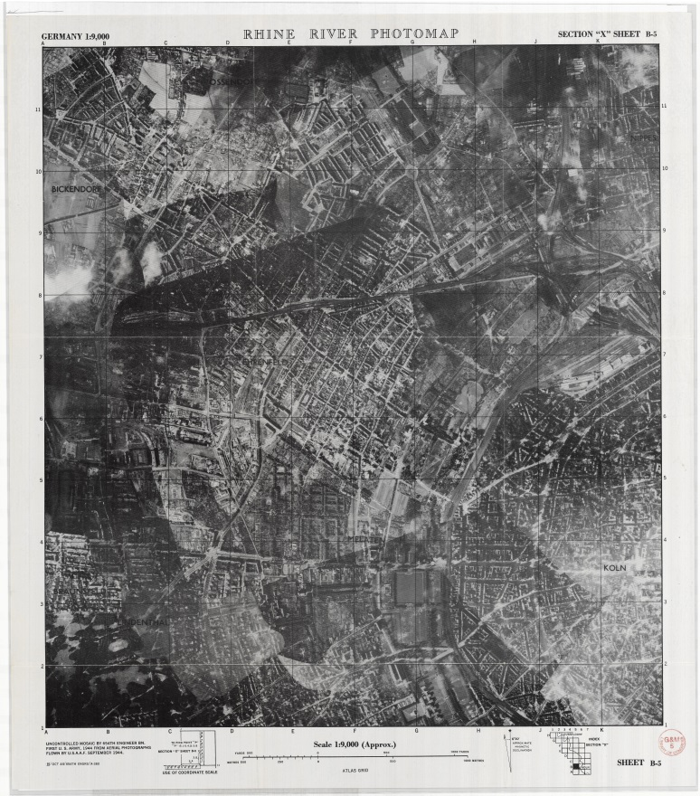"""Rhine River Photomap, Germany, Section 'X' Sheet B-5."" 654th Engineer Topographic Battalion, 1944. Bob Crozier World War II military intelligence map and aerial photograph collection, Geography and Map Division, Library of Congress."