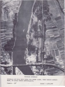 "An example of a ""Routine Coverage"" aerial reconnaissance product. This photograph, scaled at 1:10,000, was employed to assess bomb damage. Note the craters on either side of the river bank and around the bridge. 654th Engineer Topographic Battalion, 1944. Bob Crozier World War II military intelligence map and aerial photograph collection, Geography and Map Division, Library of Congress."