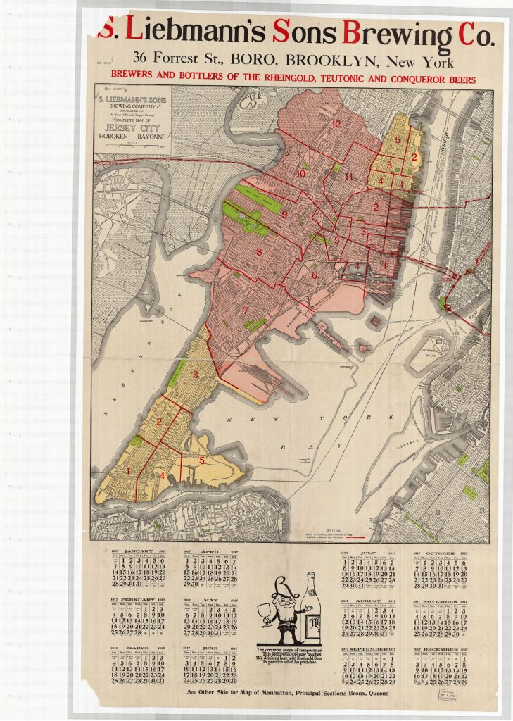 "•Map Caption: S. Liebmann's Sons Brewing Co. of Brooklyn, New York boasts of ""61 years of Scientific Progress Brewing"" (New York: 1915, Rand McNally). Map depicts Jersey City, New Jersey. From the Geography and Map Division Titled Collection."