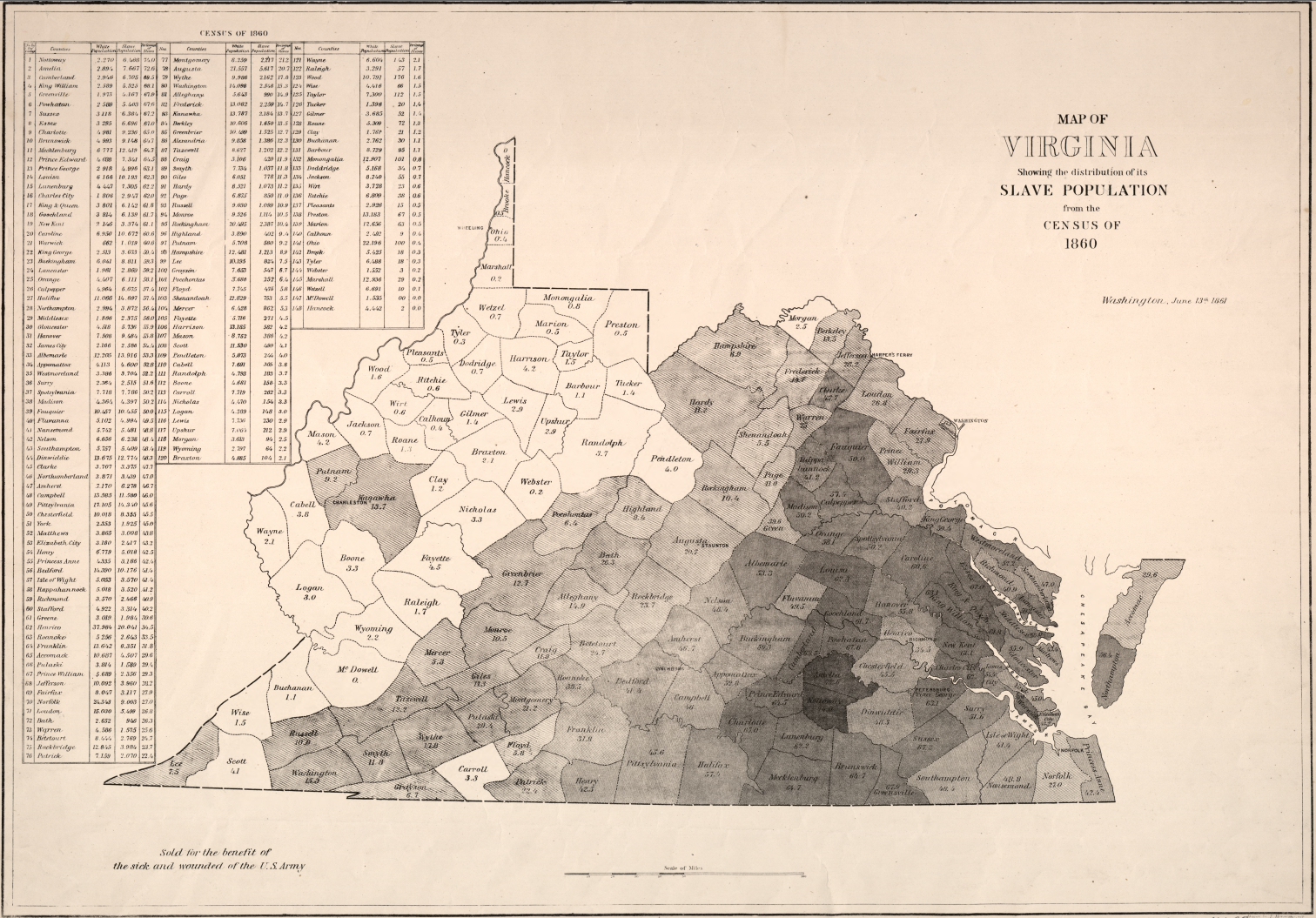 Graham Map of Slave Population in VA
