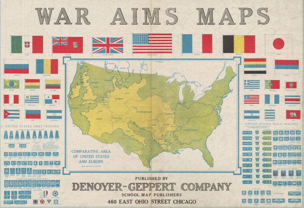 """Comparative Area of the United States and Europe"" from War Aims Maps, (Chicago, 1918), G&M Titled Collection."