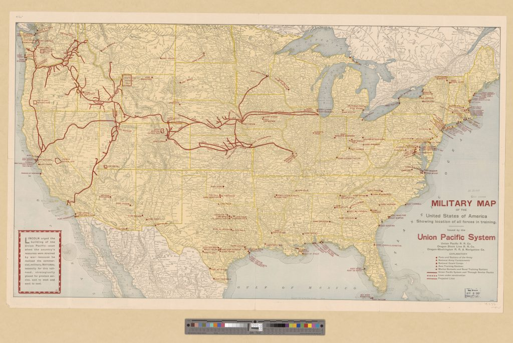"""Military Map of the United States Showing locations of all forces in training,"" from G&M Titled Collection."