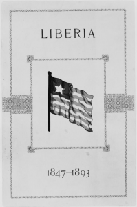 Cover of pamphlet on Liberian government officials with graphic of Liberian flag.