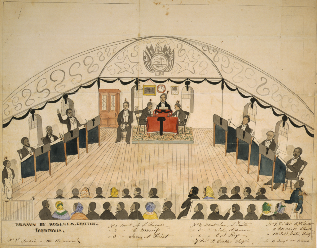 Drawing of an assembly of the Senate of Liberia; members are numbered, includes a corresponding key.