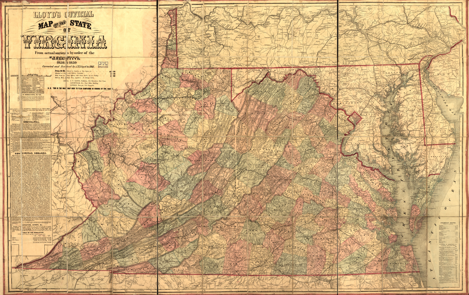 James T. Lloyd's official map of the state of Virginia, 1861.