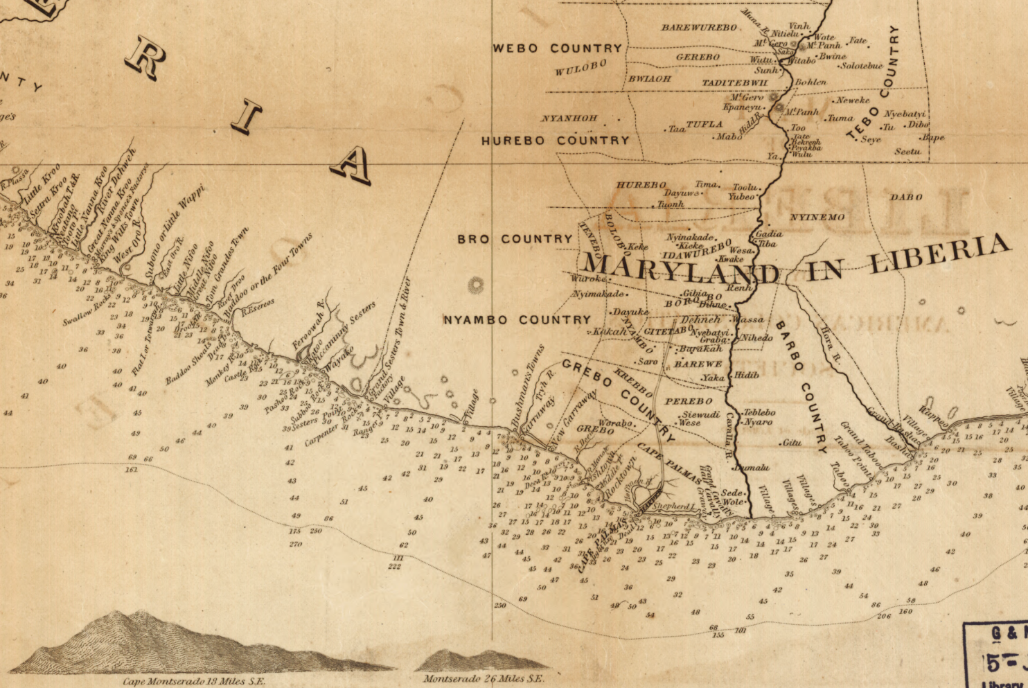 Detail of map of Liberia, showing state of Maryland, coastal towns, tribal territories, ocean sounding depths, and graphics of major mountains.