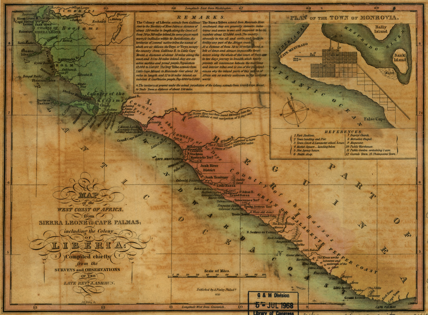 Map of Sierra Leone and Liberia, including coastal settlements and large inset map of Monrovia.