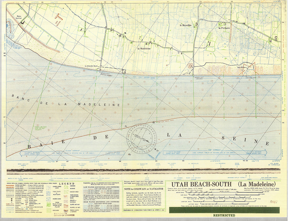 Chart map of Utah Beach, Normandy, France.