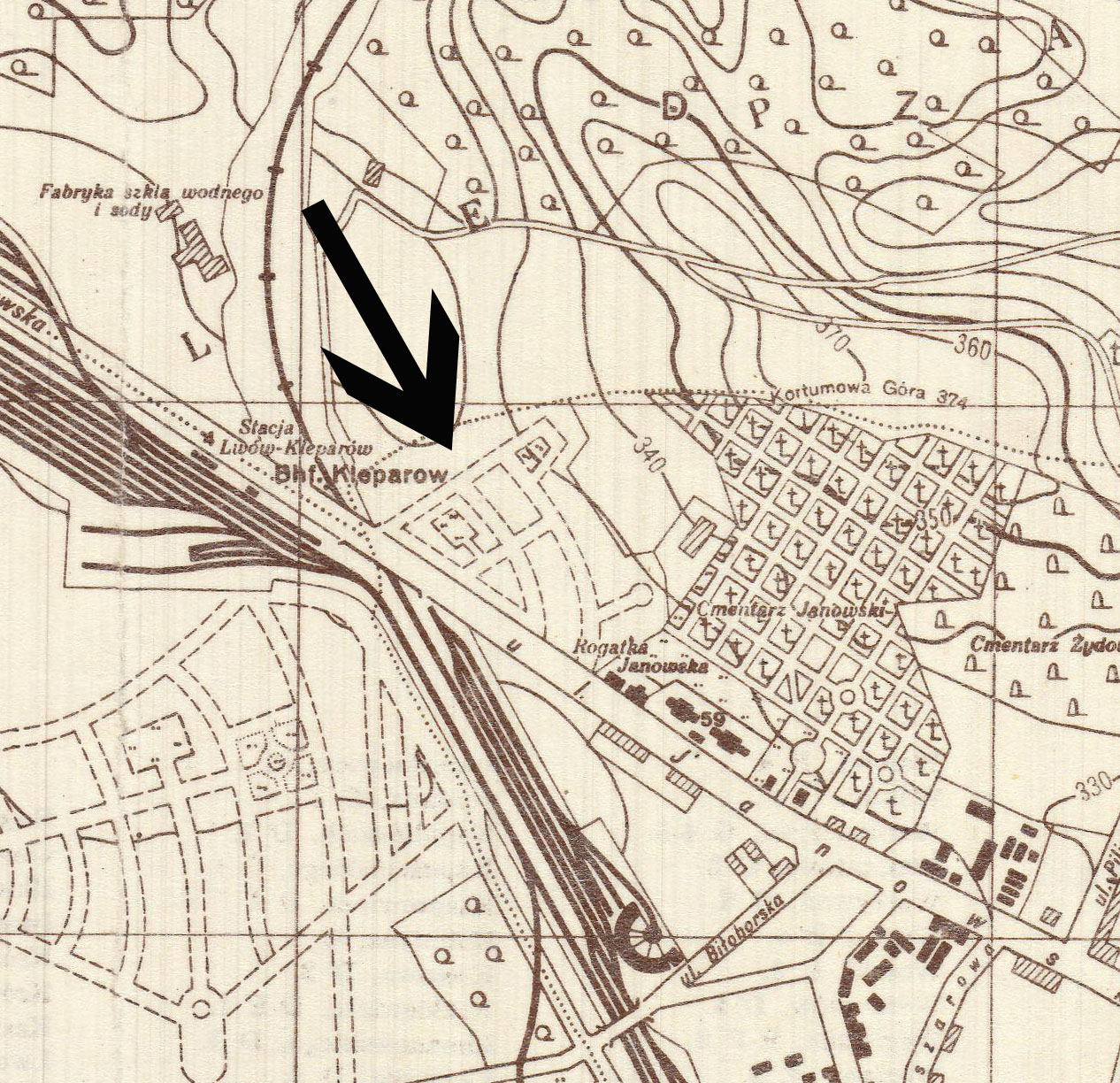 Portion of Stadtplan von Lemberg (Lwowa). Created by German military, Berlin, 1941. Geography and Maps Division, Library of Congress.