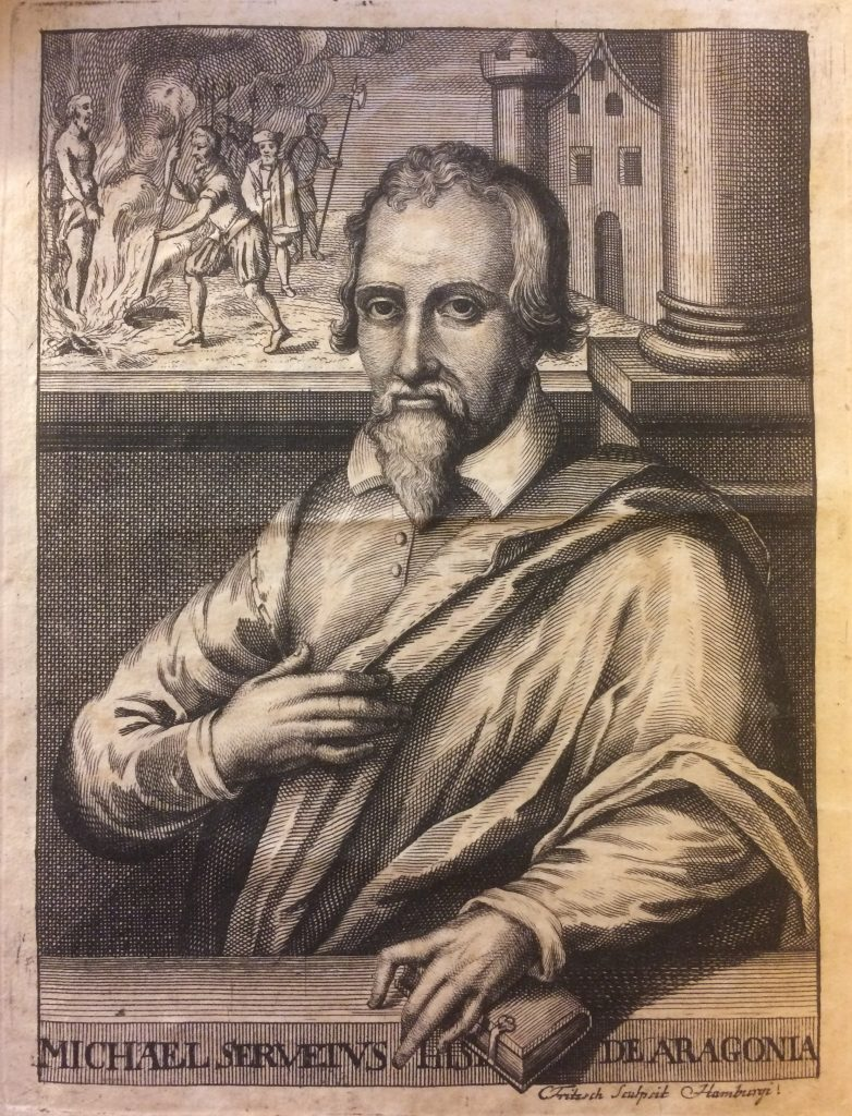 Michael Servetus. Engraving from Historia Michaelis Serveti qvam praeside by Johann Mosheim, 1728. Rare Book and Special Collections Division, Library of Congress.