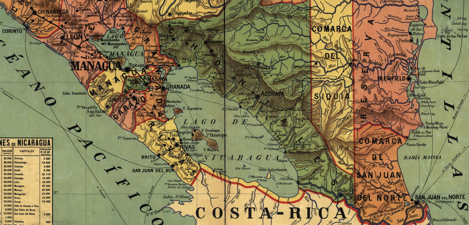 Detail of canal region of Nicaragua, map from 1913.