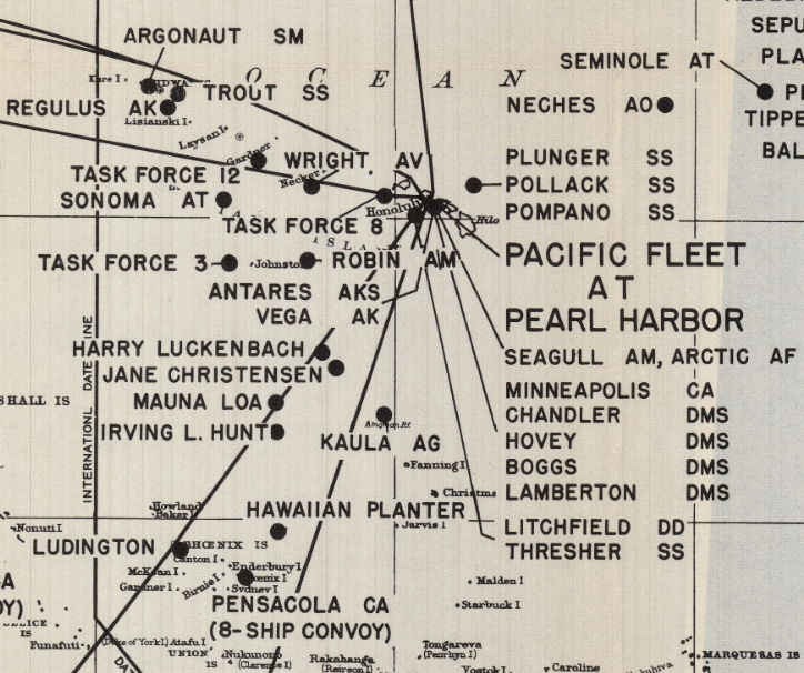Detail of Hawaii on map of locations of U.S. Navy Pacific Fleet (ships, planes, etc.) throughout the Pacific Ocean on December 7th, 1941.