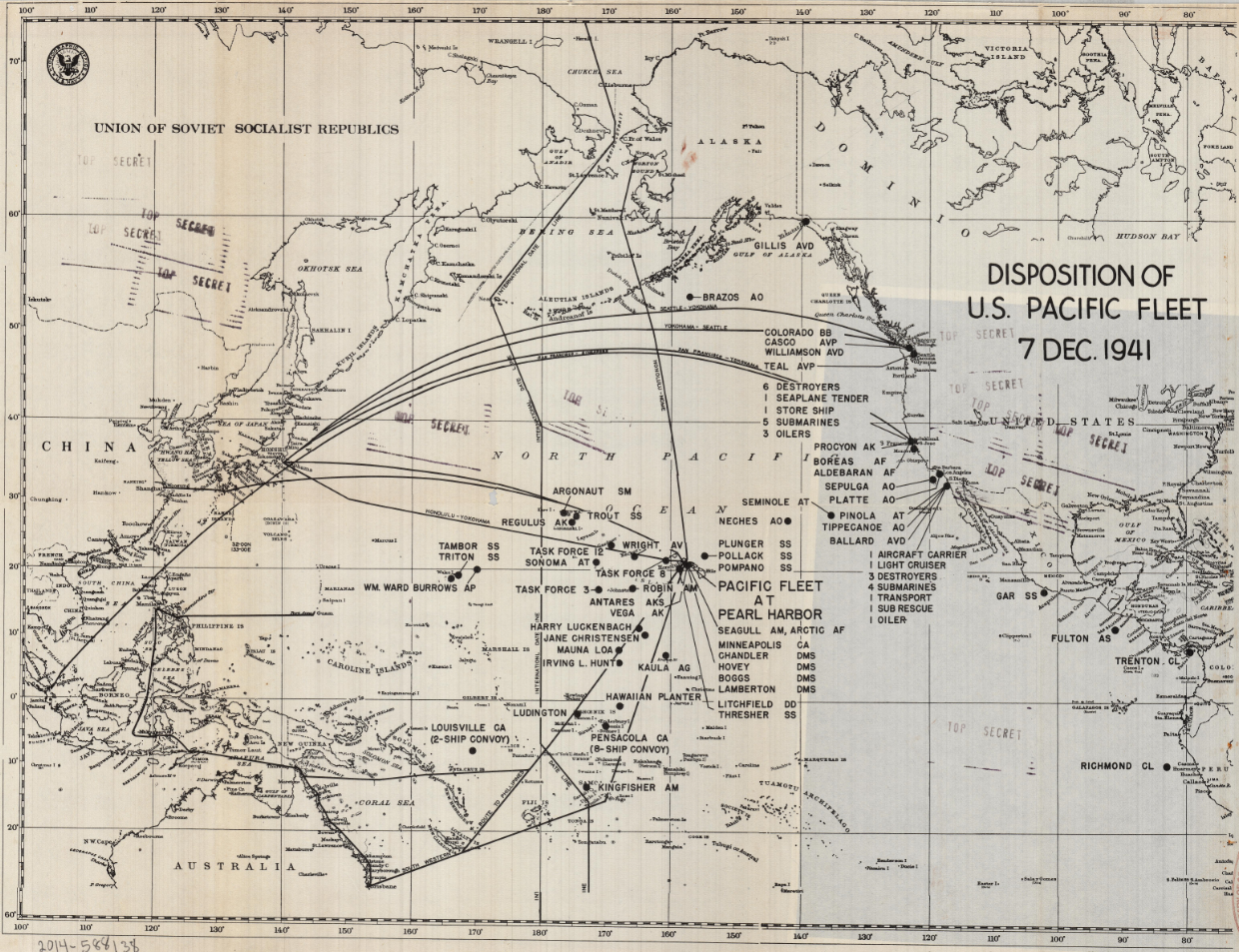 Map of locations of U.S. Navy Pacific Fleet (ships, planes, etc.) throughout the Pacific Ocean on December 7th, 1941.