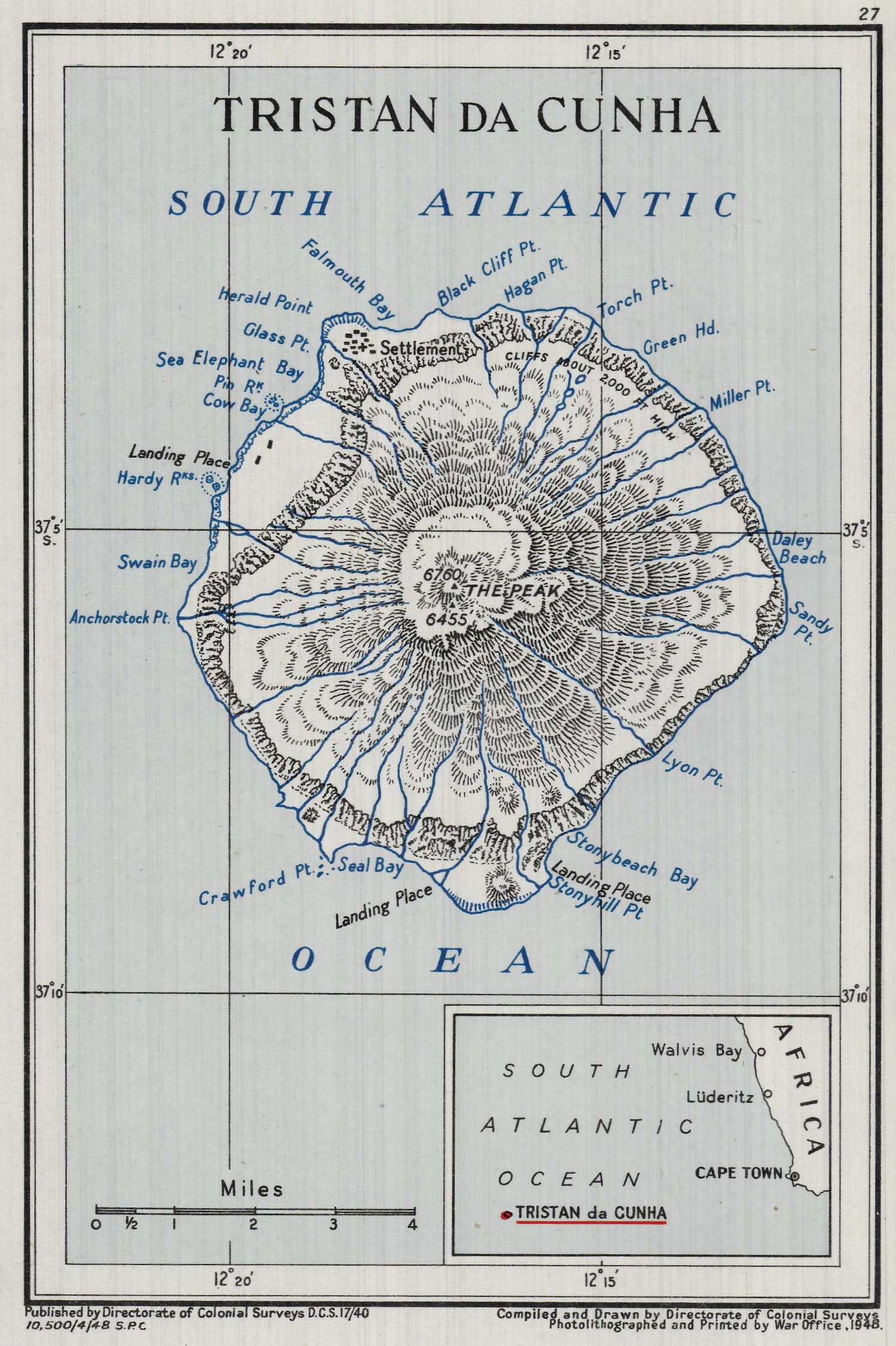 """Tristan da Cunha,"" published by Directorate of Colonial Surveys, 1948. Geography and Map Division, Library of Congress."