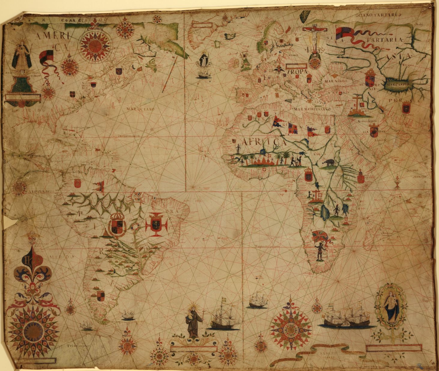 """A portolan chart of the Atlantic Ocean and adjacent continents,"" Pascoal Roiz, 1633. Geography and Map Division, Library of Congress."