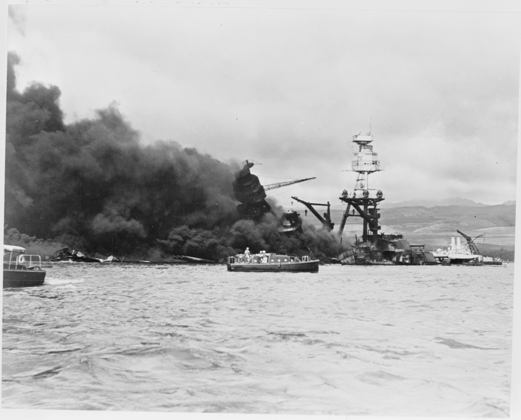 Photograph of wreckage of USS Arizona following bombing of Pearl Harbor on Dec. 7th, 1941.