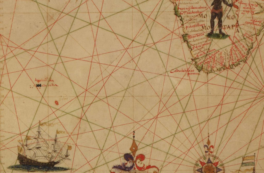 "Detail of ""A portolan chart of the Atlantic Ocean and adjacent continents,"" Pascoal Roiz, 1633. Geography and Map Division, Library of Congress."