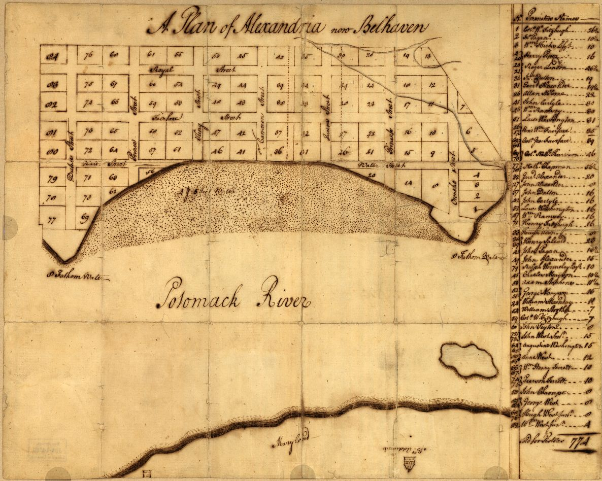 A plan of Alexandria, now Belhaven. George Washington, 1749. Geography and Map Division, Library of Congress.