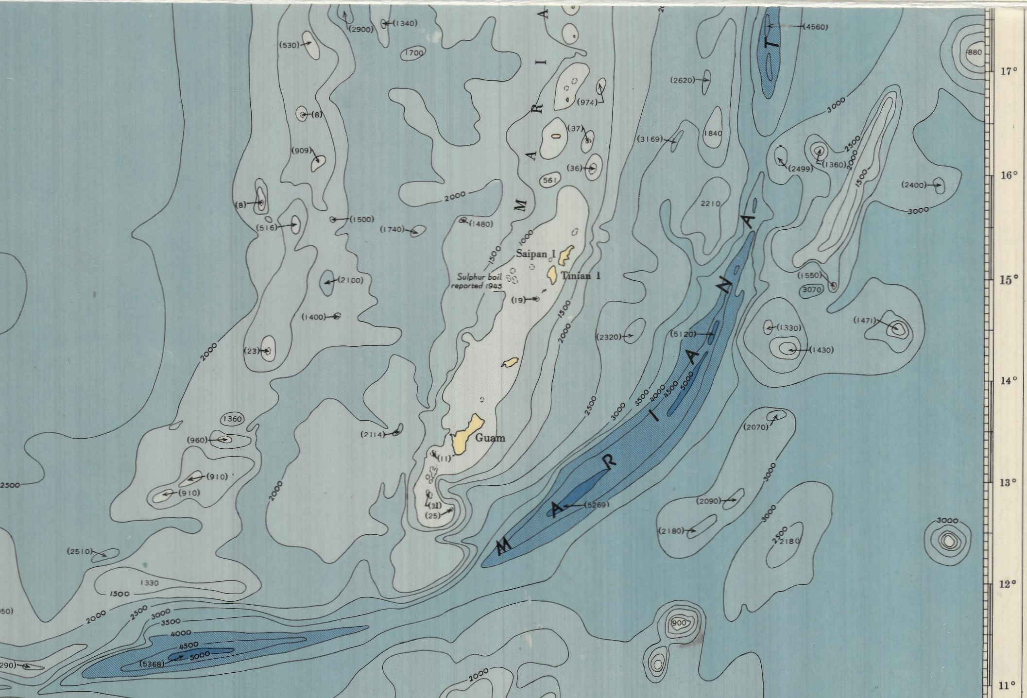 Bathymetric Chart Korea to New Guinea including the Philippine Sea by the Unites States Hydrographic Office , 1946. Geography and Map Division, Library of Congress.