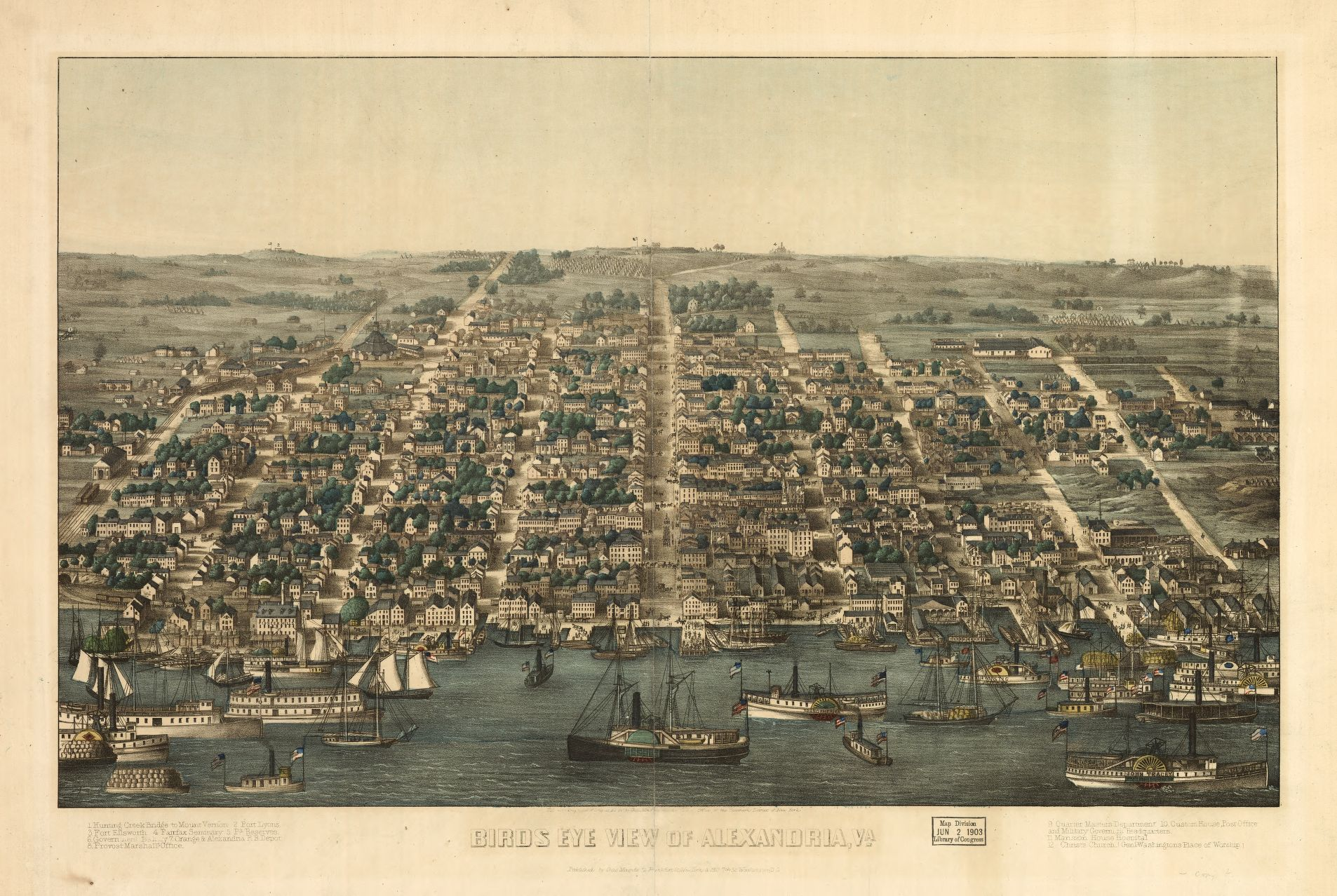 Birds eye view of Alexandria, Va. Charles Magnus, 1863. Geography and Map Division, Library of Congress.