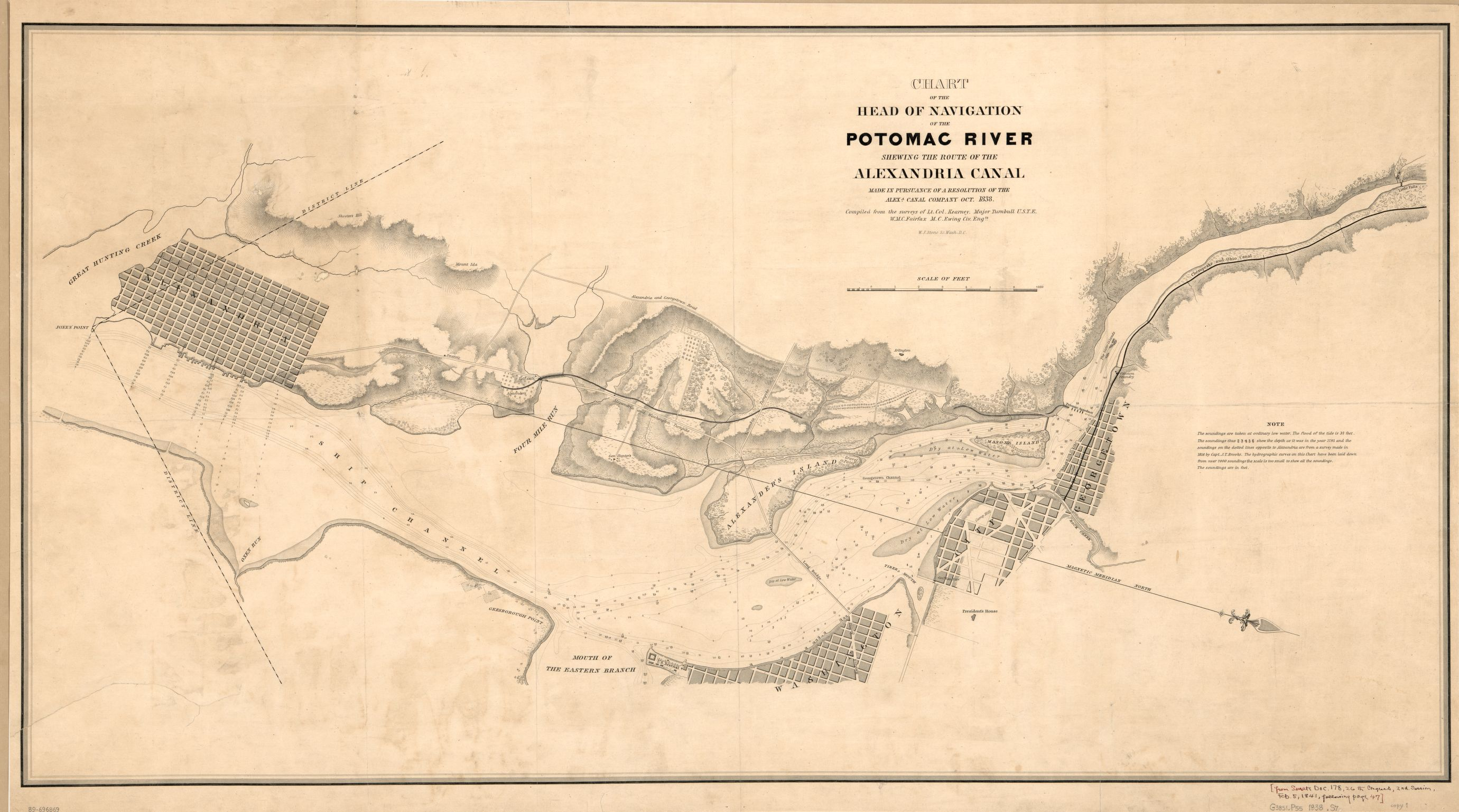 Chart of the head of navigation of the Potomac River shewing the route of the Alexandria Canal. Alexandria Canal Company, 1841. Geography and Map Division, Library of Congress.