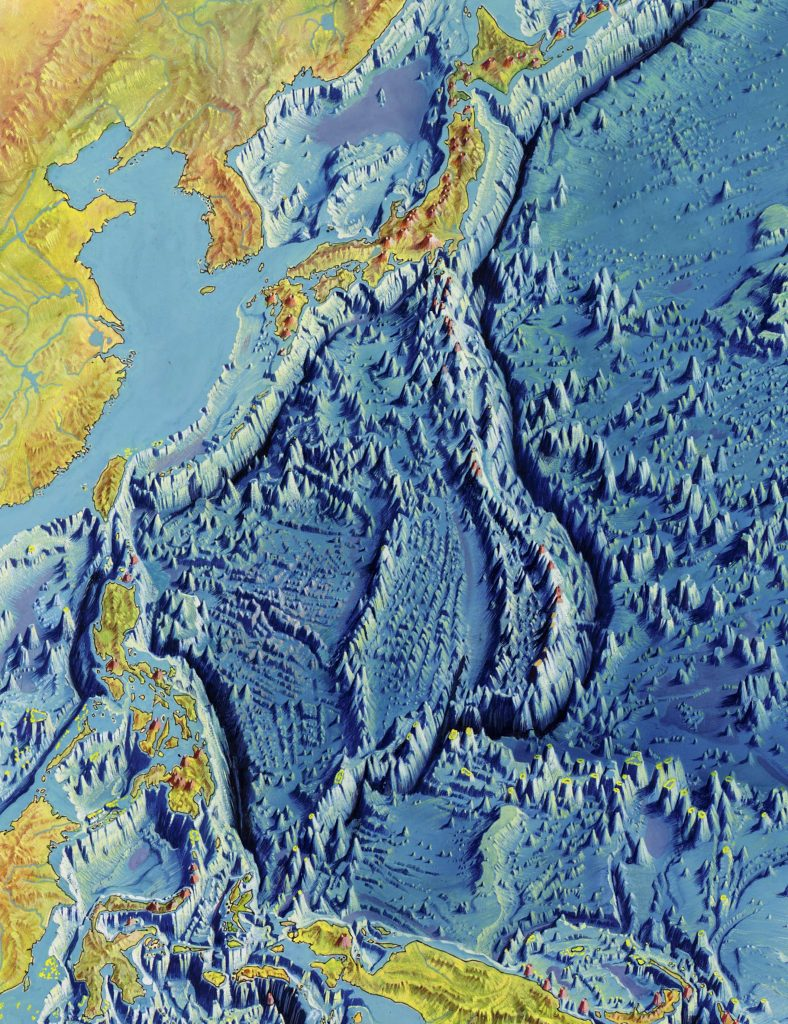 "Detail of Marian Trench from Manuscript painting of Heezen-Tharp ""World ocean floor map by Heinrich Berann, 1977. Geography and Map Division, Library of Congress."