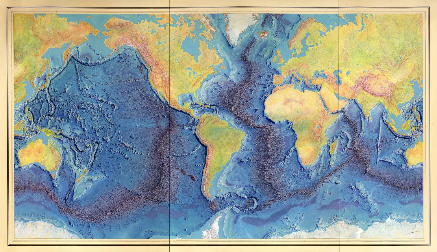 "Manuscript painting of Heezen-Tharp ""World ocean floor"" map by Heinrich Berann, 1977. Geography and Map Division, Library of Congress."