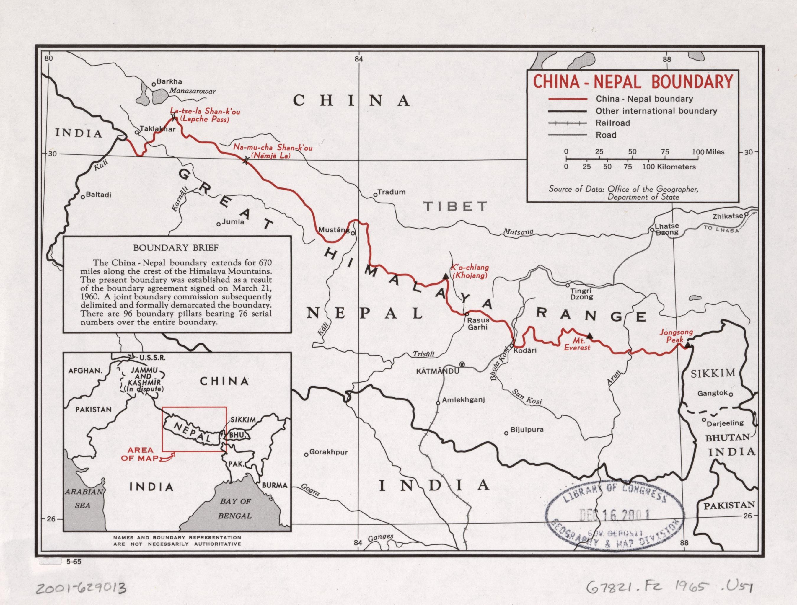 China-Nepal Boundary. Central Intelligence Agency, 1965. Geography and Map Division, Library of Congress.