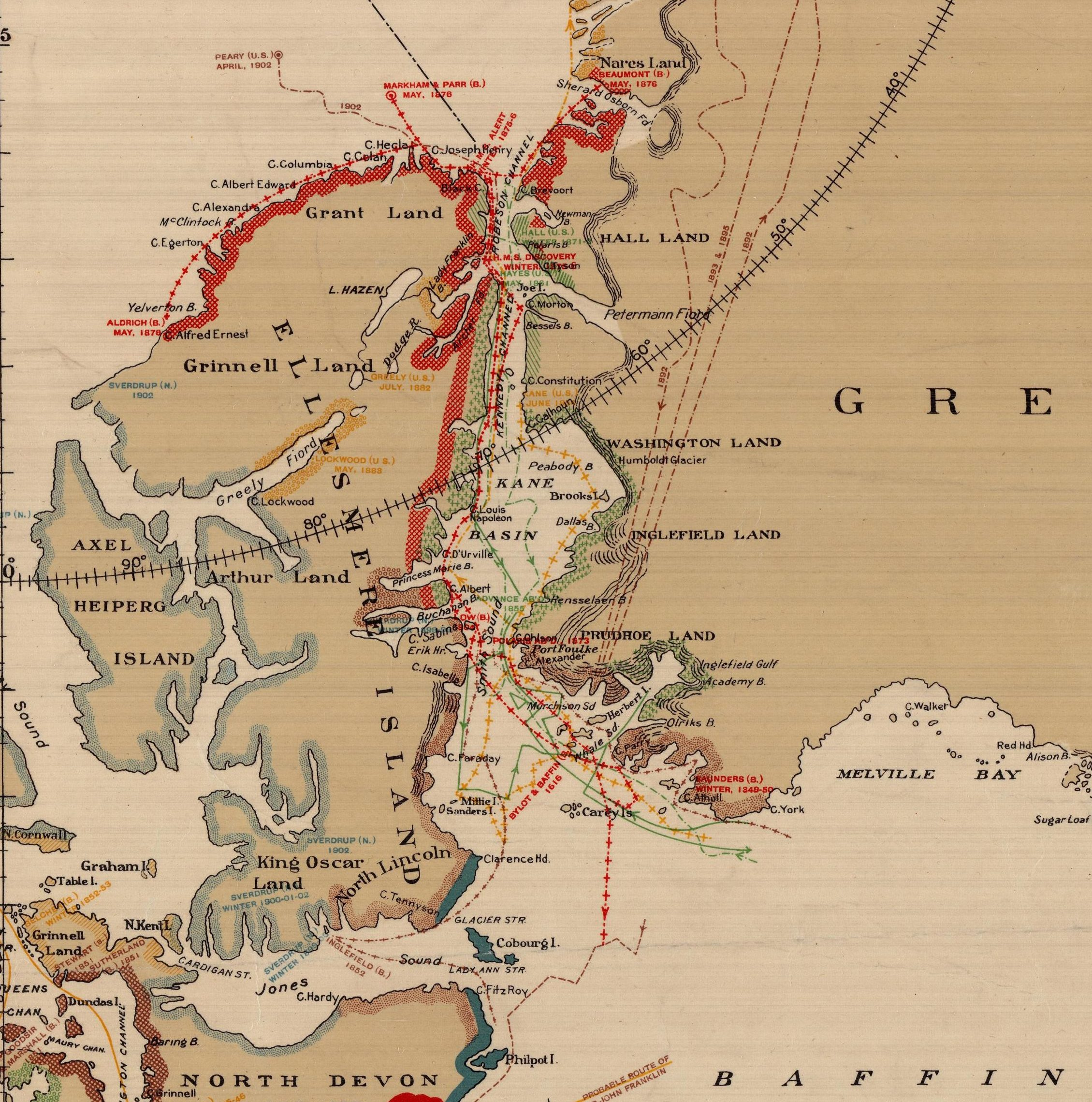 Explorations in Northern Canada and Adjacent Portions of Greenland and Alaska [Red dotted line and shaded area is path and exploration of the HMS Alert]. Department of the Interior Canada, 1904. Geography and Map Division, Library of Congress.