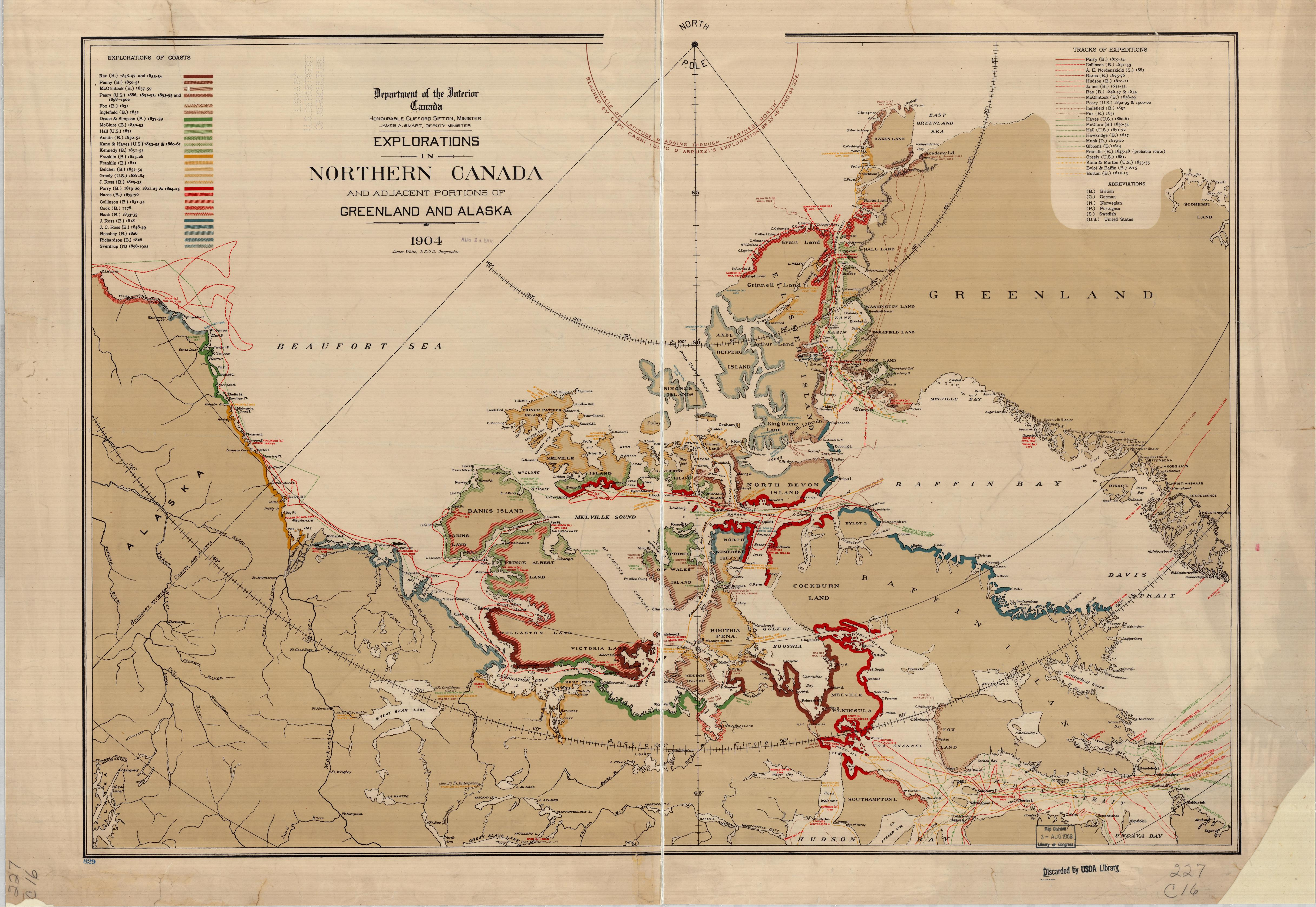 Explorations in Northern Canada and Adjacent Portions of Greenland and Alaska. Department of the Interior Canada, 1904. Geography and Map Division, Library of Congress.