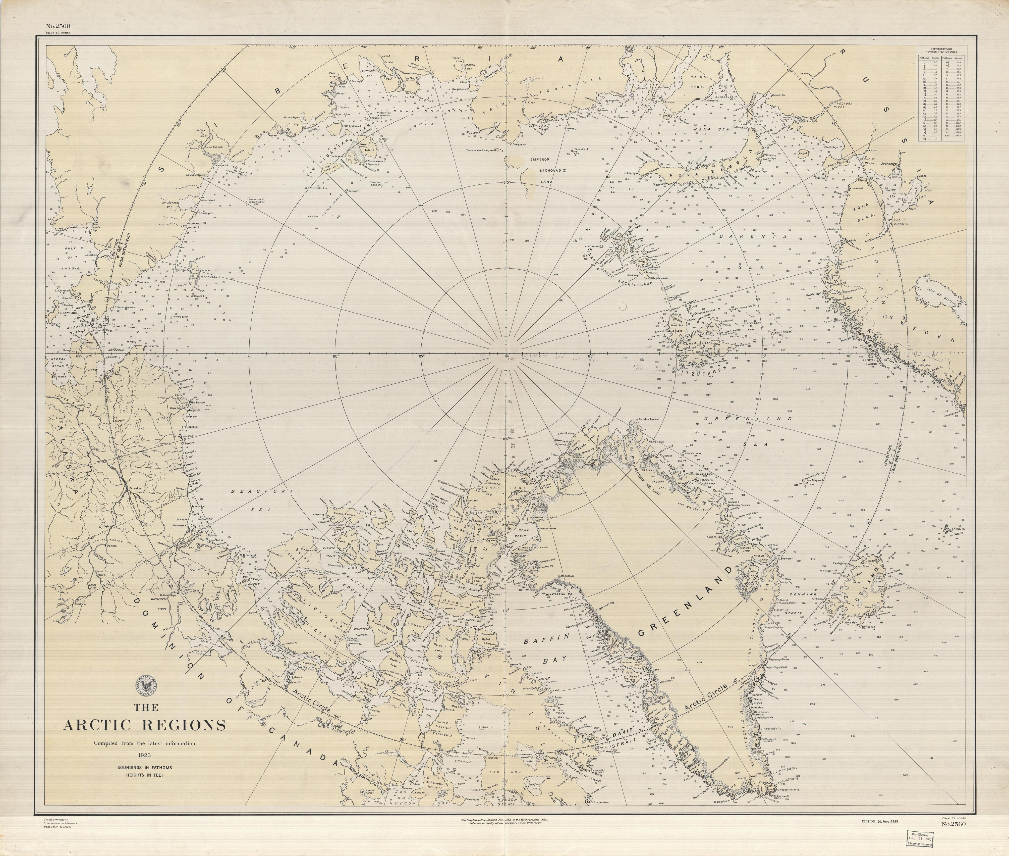 The Arctic Regions. U.S. Hydrographic Office, 1925. Geography and Map Division, Library of Congress.