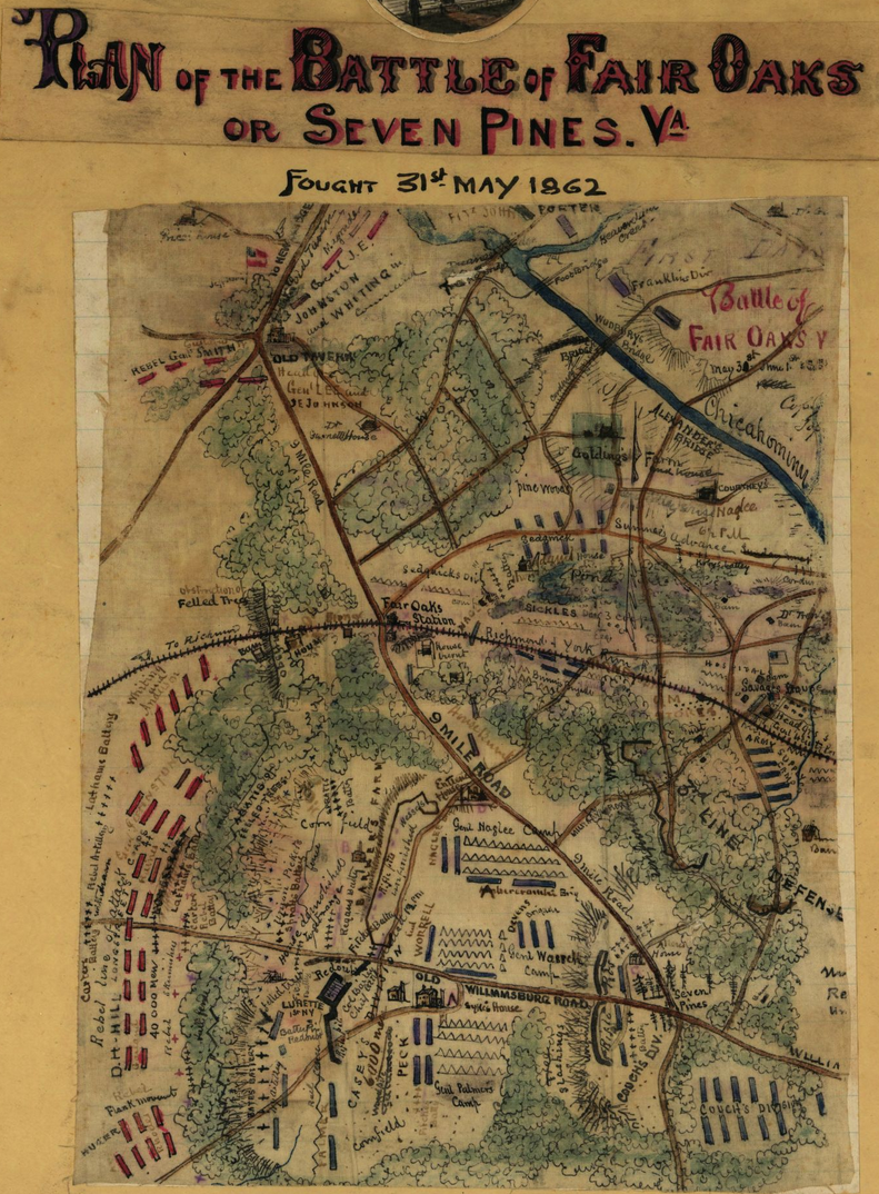 Map of Union and Confederate battle of Seven Pines.