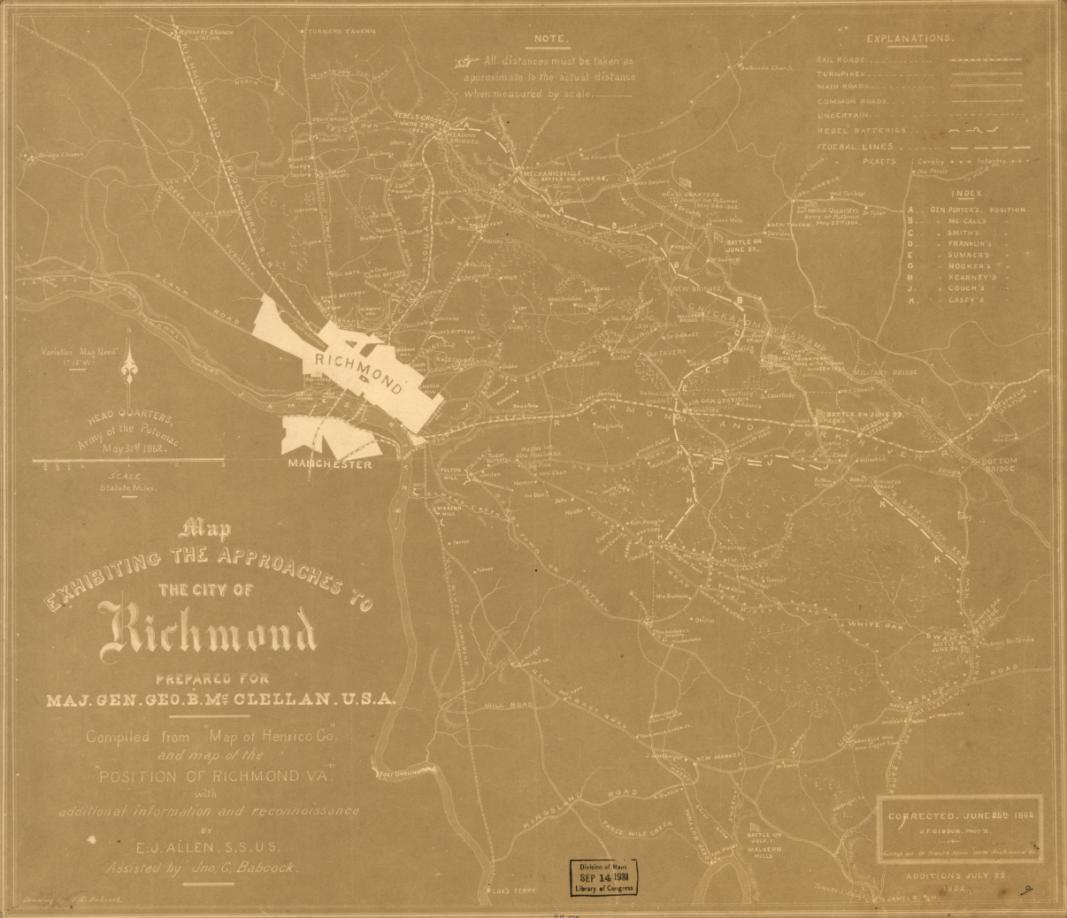 Map of Union approach lines outside of Richmond in relation to common roads and railroads