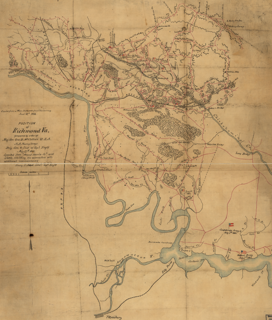 Confederate map of Richmond, regional roads, and locations of Confederate and Union positions in Summer 1862.