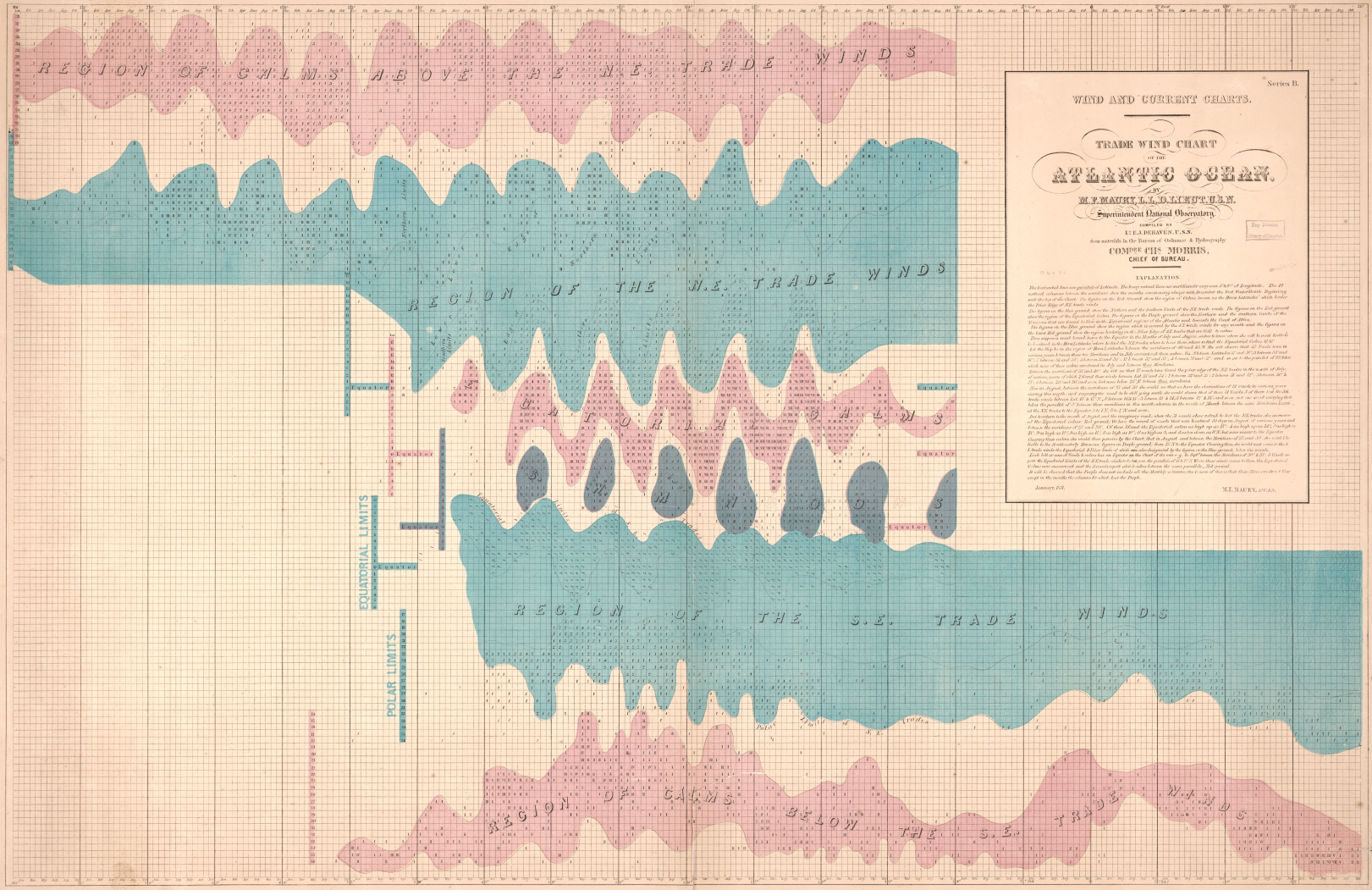 Chart of trade wind observations for Atlantic Ocean, colored into areas of light blue, pink, and purple, indicating different wind pattern areas.