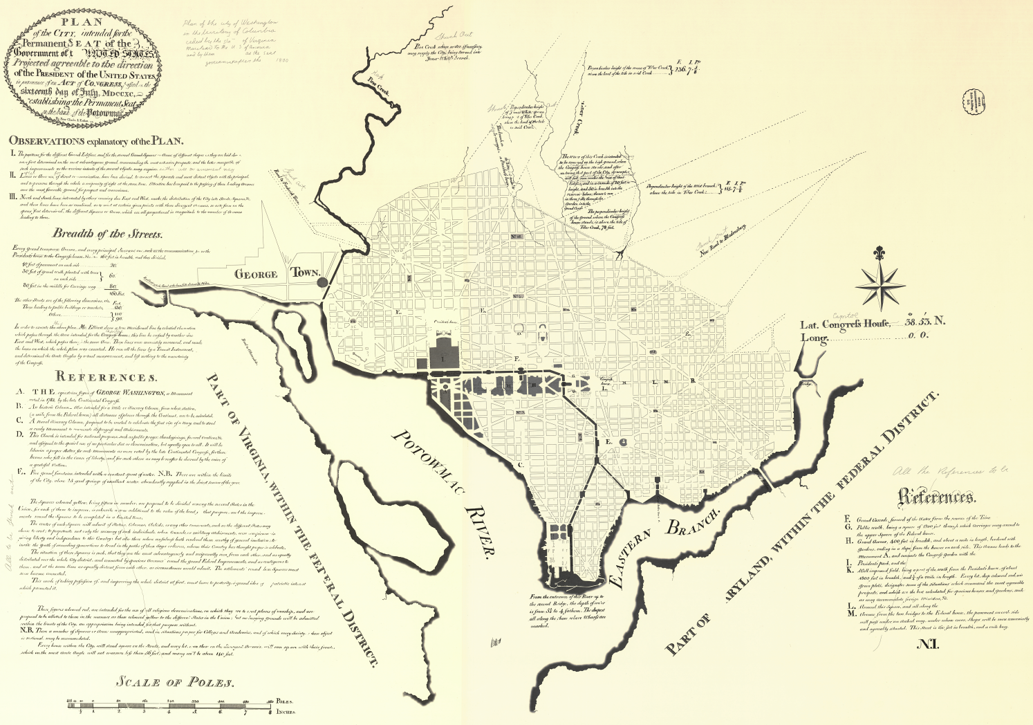 Enhanced reproduction of L'Enfant Plan for Washington, DC with street grid and locations of President's House and Congress House.