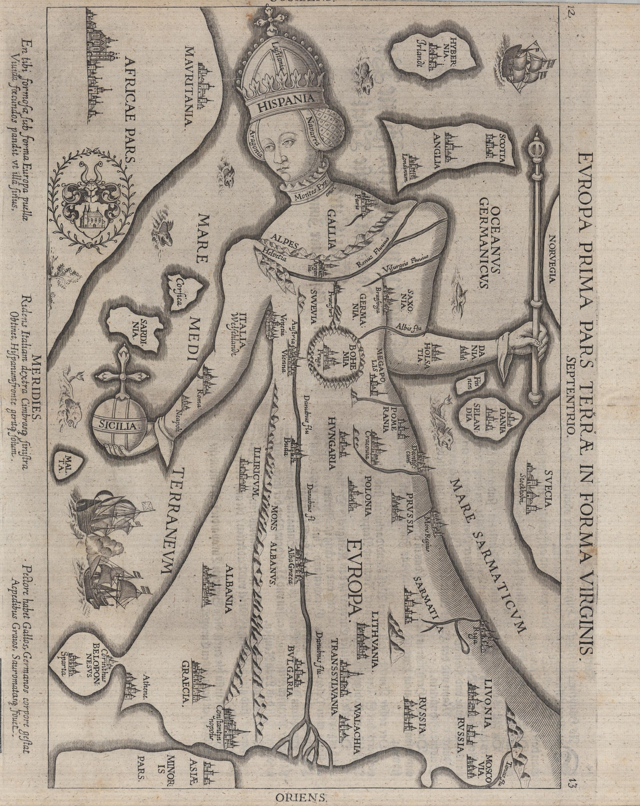 Europa Prima Pars Terrae in Forma Virginis, 1581. Hauslab-Liechtenstein Map Collection. Geography and Map Division, Library of Congress.