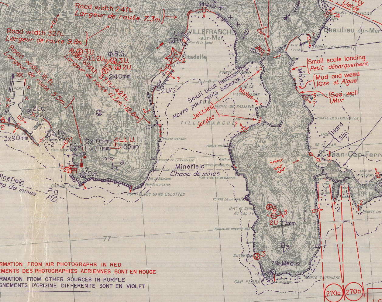 Detail of coastal map with topography and military installations.