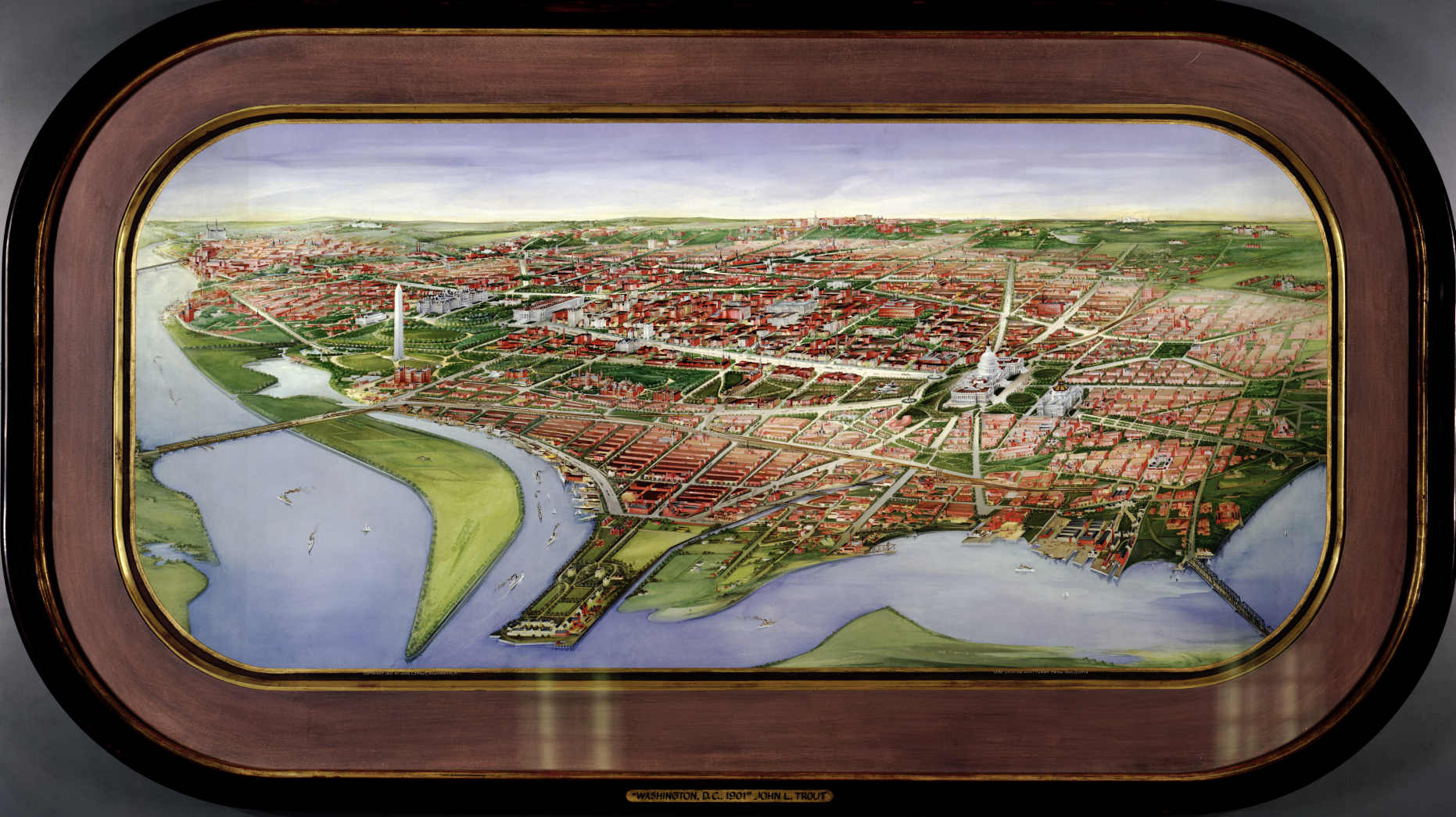 Panoramic watercolor of Washington, DC centered over national mall, with building roofs in red.