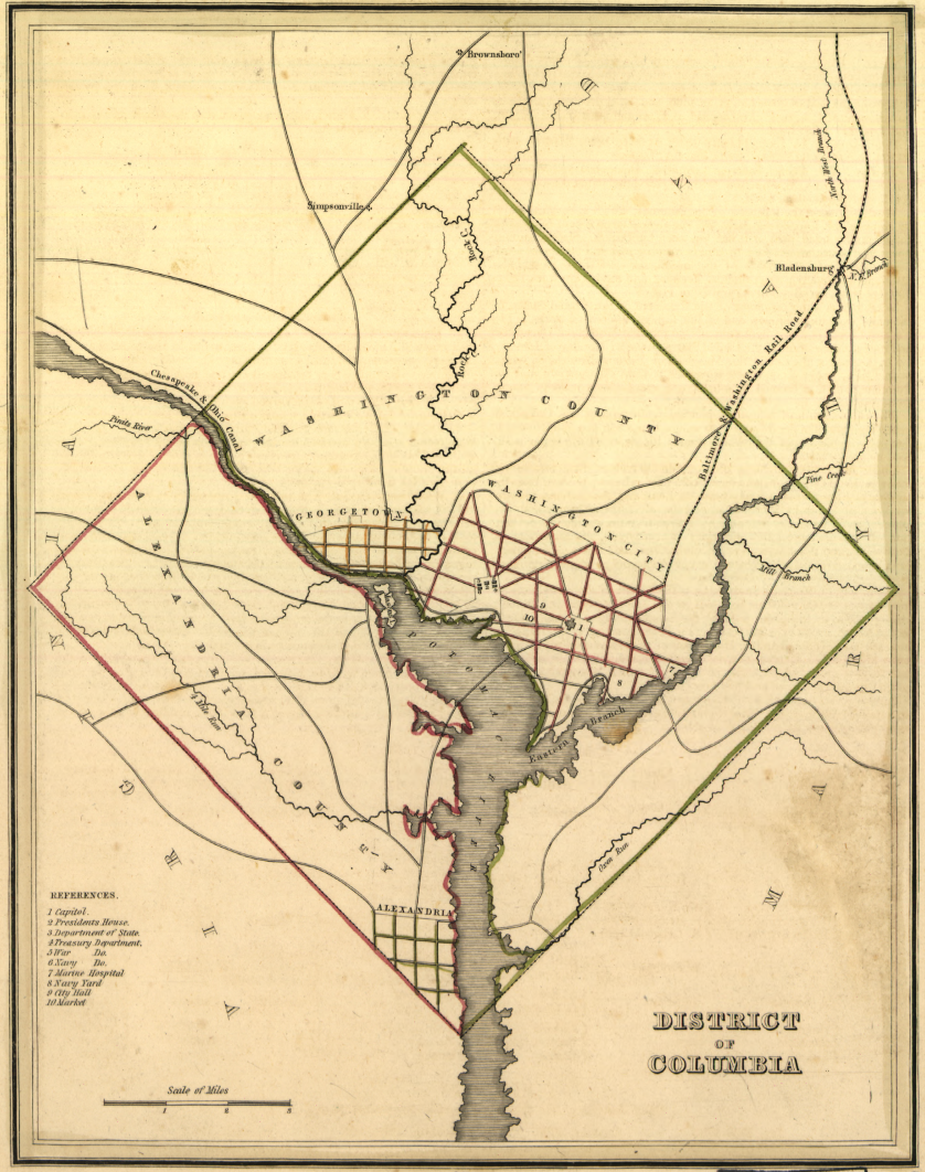 Map of the entire District of Columbia including Georgetown, Washington City, Washington County, Alexandria County, and Alexandria City. Detail is minimal and focuses on political geography.