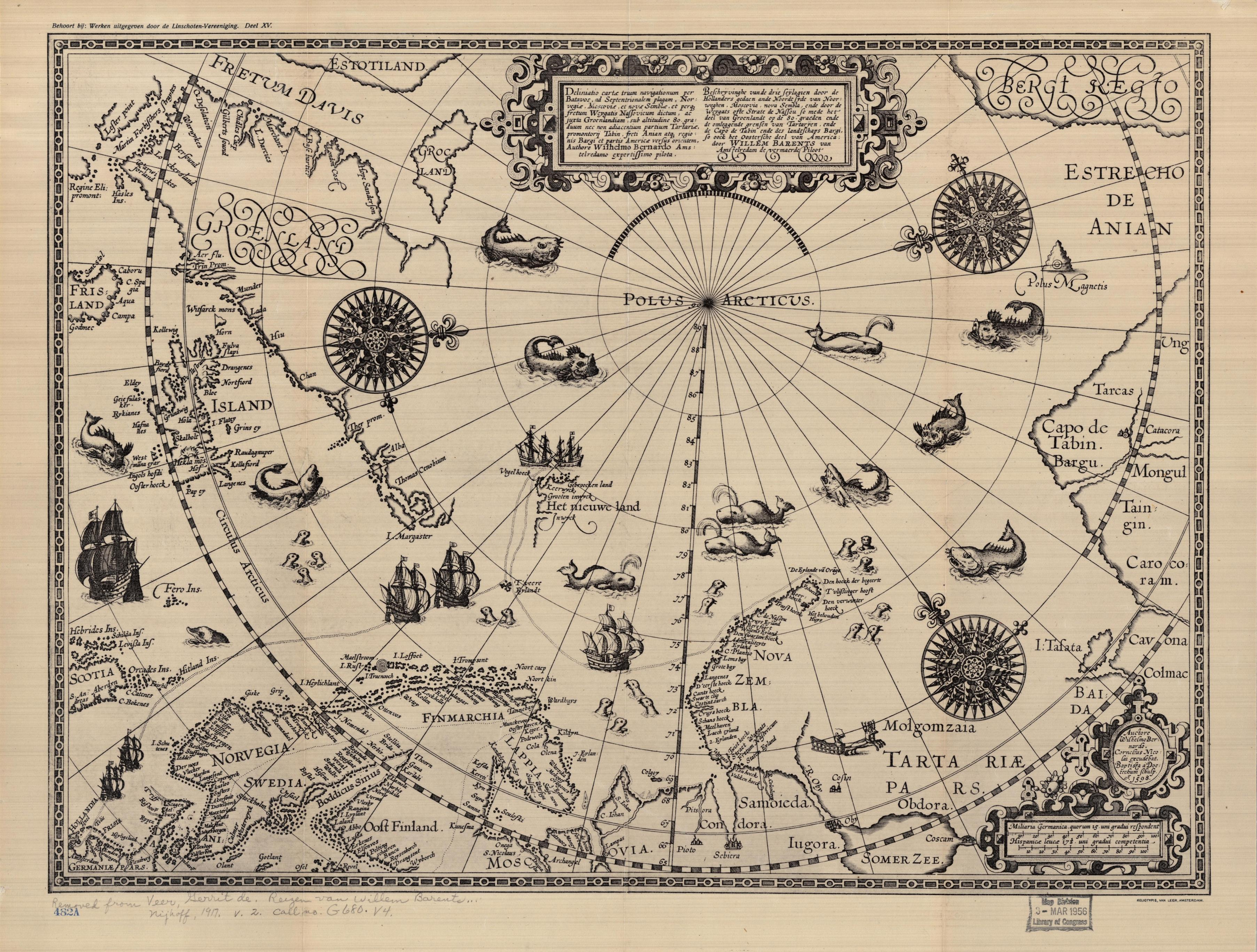 Deliniatio cartae trium navigationum per Batavos ad Septentrionalem... Original by Willem Barentsz, 1598. Facsimile, Nijhoff, 1917. Geography and Map Division, Library of Congress.