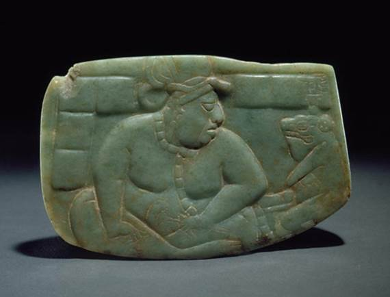 Jade plague from the Guatemalan lowlands, late classic Maya period, 600-900 CE. The carving shows a Maya ruler and a toad, whose name is Ah Mal, or the dripper, referring to the poison that comes form the parotid gland on its back. Kislak Collection, Geography and Map Division, Library of Congress